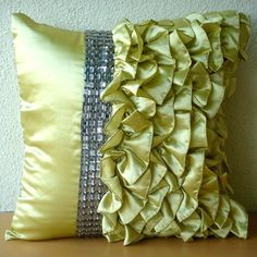 Diamonds N Ruffles - Throw Pillow Covers - 20x20 Inches Satin Pillow cover with Ruffles and Crystals. $34.50, via Etsy.