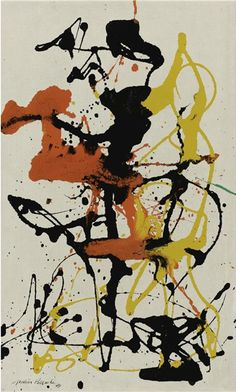Number 26 - Jackson Pollock, 1949 American painter and a major figure in the abstract expressionist movement. He was well known for his uniquely defined style of drip painting.