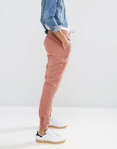 ASOS Washed Casual Pants with Poppers