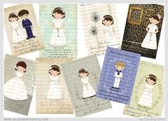 ♥ Recordatorios Primera COMUNIÓN ♥ Marietes Ilustraciones : ♥La casita de Martina♥ Blog de Moda Infantil, Premamá y mucho más First Communion Invitations, Printable Labels, Printables, First Holy Communion, Diy Crafts, Prints, Projects, Alba, Flower Girls