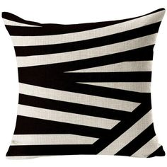 Yo-You Square Throw Pillow Case Black White Geometry Cushion Cover For... ❤ liked on Polyvore featuring home, home decor, throw pillows, black and white home accessories, black and white toss pillows, black and white home decor, black white home decor and square throw pillows