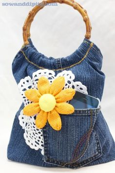 denim handbag made from recycled blue jeans