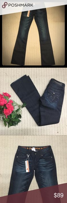 NEW Rock Revival Debbie boot dark jeans Cute, super dark wash. Never wore because this cut does't fit my shape. Rock Revival Jeans Boot Cut