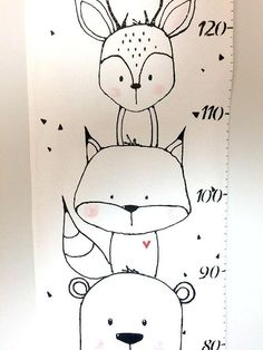 Screen animals gauge scale fabric ruler growth chart home Growth Chart Ruler, Fabric Markers, Permanent Marker, Woodland Creatures, Drawing For Kids, Baby Decor, Cute Drawings, Art Lessons, Bedroom Decor