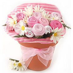 GIFT IDEA or BABY SHOWER CENTERPIECE-  Baby Blossom Girl Clothing Gift Bouquet