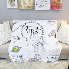 Custom illustrated future mrs bride blanket gift