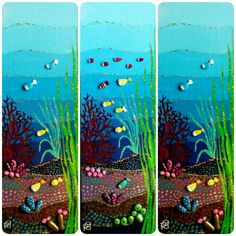 Trittico-fondale marino-Painted Stones di Rosaria Gagliardi