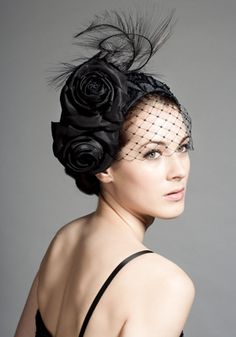 Black silk taffeta beaded crescent with flowers, ostrich and face veil Rachel Trevor-Morgan Fashion and Designer Style Black Fascinator, Fascinator Headband, Fascinators, Headpieces, Sombreros Fascinator, Rachel Trevor Morgan, Occasion Hats, Millinery Hats, Turbans