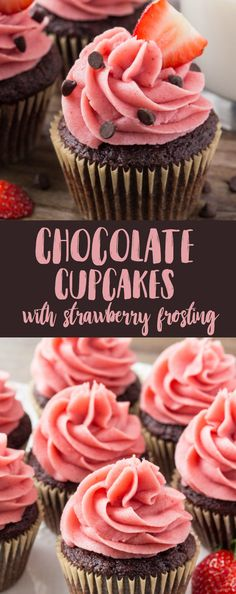 These chocolate cupcakes with strawberry frosting start with moist, fudgy chocolate cake. Then they're topped with creamy strawberry buttercream made from real strawberries. via @ohsweetbasil