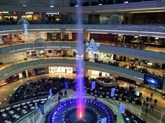 The highest fountain inside a building is in the biggest Mall in Russia - the AfiMall.The water goes up to 32 meters!