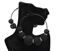 Basketball Wives POParazzi Inspired Black Mesh Ball Earrings 83mm