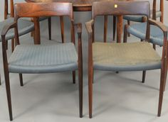 Set of eight Niels Moller rosewood dining chairs ~ Realized Price $1,500.00