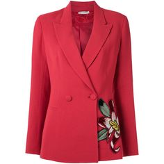 Martha Medeiros embroidered blazer (6.640 RON) ❤ liked on Polyvore featuring outerwear, jackets, blazers, red, open front blazer, red jacket, martha medeiros, open front jacket and long sleeve blazer