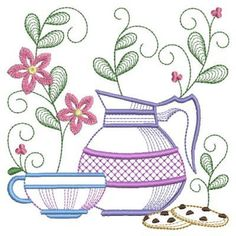 Set your table for tea with this delightful design. Machine Embroidery Patterns, Embroidery Applique, Embroidery Stitches, Dish Towel Embroidery, Sketch 4, Cat Quilt, Quilling Cards, Vintage Quilts, Applique Designs