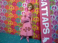 """Pink Pleather 2 Pc Set with Matching Boots and Handbag.  See """"Dawn"""" on the Skirt?"""