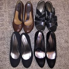 4 bundle casual work shoes.  OPEN TO OFFERS  3 of them are black 1 pair brown. Make is aerie be Aigner, Solos (brown), Dexter and Naturalizer. Worn a few times, but plenty of life left to them all. I wear a 8 1/2, the sizes are different because of the make of the shoes didn't want to squeezing the toes. The black pouted ones are a 9 because of the point. The rounded black and brown ones are an 8. And open toe black are 8 1/2. Can also sell separate. Can't  remember where I purchased.  OPEN…