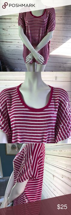 """Michael Kors Pink & White Sequins Top Size L A super cute & comfy Sequins Top from MK excellent pre owned condition. Fits loose.   My measurements : -shoulder to shoulder: 27"""" -length : 28"""" KORS Michael Kors Tops Tees - Short Sleeve"""