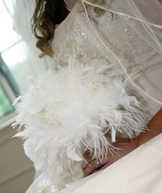 VINTAGE Style White Feather Flowers Bridal Bouquet - Pearls and Roses Ostrich Chandelle Feathers Wedding Bouquets Rose Custom Bride Colors  - would want some brown or something in there too.