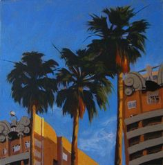 California Dreamin' Modernity at Elm and Ocean ORIGINAL Oil Painting on Canvas
