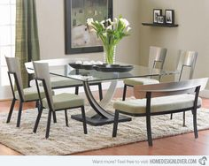 Furniture , Square Dining Table Designs Furniture : Modern Glass Top Square Dining Table Designs With Modern Chairs And White Seats Square Dining Room Table, Glass Top Dining Table, Dining Table Design, Square Tables, Esstisch Design, Dining Room Furniture, Home Decor, Table Designs, Modern Glass