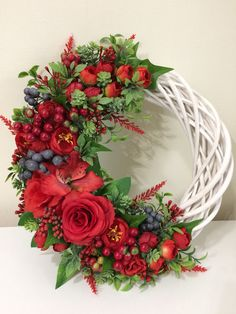 What a gorgeous spring wicker and a red rose wreath. This is an elegant red and white wreath. We love the country cottage style decor around here Spring Door Wreaths, Easter Wreaths, Summer Wreath, Holiday Wreaths, White Wreath, Diy Wreath, Floral Wreath, Xmas Decorations, Flower Decorations