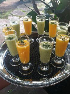 Shooters de gazpacho de pepino y mango. Un aperitivo refrescante