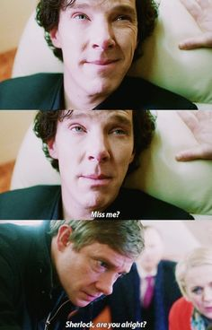 """Miss me?"" - #Sherlock, John and Mary"