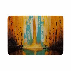 "Steven Dix ""Inception Or Birth"" Teal Orange Memory Foam Bath Mat"