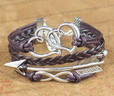 Ancient Silver Peach Heart Bracelet  Arrow by ontheway2013 on Etsy, $4.99