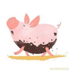 #Cute little #pig finished its mud bath! #piggy #colour_collective - recent_work by Simone Krüger