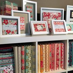 Look how cute this is! Megan Dunton Moda Bake Shop reader sent in her idea of decorating with precuts. Fabric Display, Fabric Storage, Craft Storage, Quilt Display, Fabric Boxes, Fabric Basket, Glass Store, Sewing Crafts, Sewing Projects