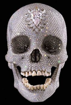 Most Expensive Piece of Art: Diamond Skull  Price: $98,000,000 (image source)  Luxury details: 2156 grams of platinum in 32 individual plates, welded together by lasers. The skull is covered inside and out in 8,601 sparkling diamonds and has a main stone that is a 52-carat pear-shaped diamond fixed upon its forehead, this stone is further bordered with 14 additional diamonds.