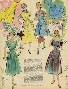aprons--swirl style apron dresses on bottom. be still my heart