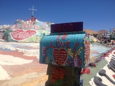 colorful spot in the Middle of the desert . freak art . salvation mountain