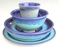 Ceramic Dinnerware Set - Made to Order - Cobalt Blue Turquoise. $150.00, via Etsy.