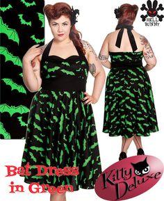 ISO in 3X. Hell Bunny Bat Dress Green Bats Rockabilly Swing 50's Spooky Girls