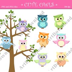 Cute owl Clip Art Digital Scrapbooking Digital Clip Art Owl Set for Personal and Commercial Use