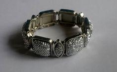 Silver Stretch Bracelet Acrylic Square Oval Flat by BrownJewels