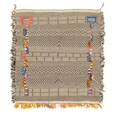 """Moroccan Flatweave Wool Rug - 5'x5'7"""" Long-pile accents in vivid color add contemporary appeal to an ancient art."""