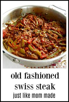One of my Mom's Sunday meals was Swiss Steak & I still love it! I'm a Grandma now, five times over. That's how old this recipe is! So easy, so good! Steak steak recipe Old Fashioned Swiss Steak Top Recipes, Meat Recipes, Cooking Recipes, Recipies, Meat Meals, Recipes With Round Steak, Crockpot Swiss Steak Recipes, Easy Cooking, Crockpot Round Steak Recipes