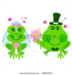 Vector illustration of cute bride and groom frogs and toads getting married.