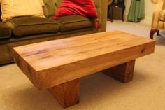 Coffee table solid French oak beam handmade side rustic new wood chunky modern