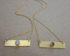 Solstice Gemstone Bar Necklace || 14k Gold Filled Chain