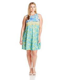online shopping for Julian Taylor Women's Plus Size Floral Printed Trapeze Dress from top store. See new offer for Julian Taylor Women's Plus Size Floral Printed Trapeze Dress Trendy Plus Size Clothing, Plus Size Outfits, Dresses Online, Dresses For Sale, Blue Dresses, Summer Dresses, Women's Dresses, Floral Prints, Fashion Dresses