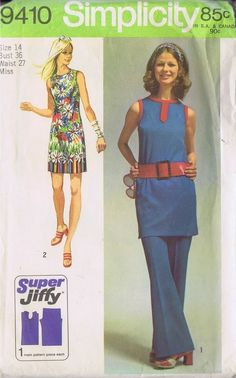 "DRESS Pants TUNIC 70s SEWING PATTERN 9410 SIMPLICITY SIZE 14 BUST 36 HIP 38"" CUT"