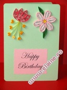 Quilled Floral Birthday Card with paper quilling flowers