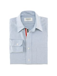 Thom Browne Long Sleeve Shirt With Grosgrain Placket In Blue Oxford