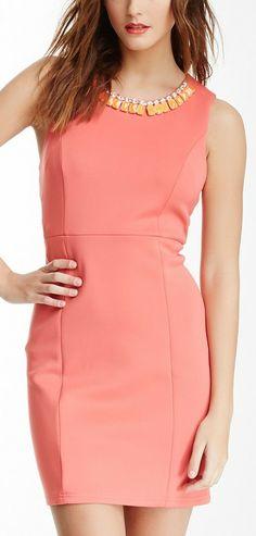 R & J  Couture Embellished Neck Dress