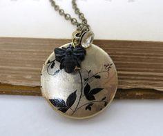 Photo Locket Round Brass Leaves Vintage Crystal Button Victorian Bead Charm Pendant. via Etsy.