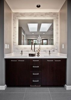 Furniture. Vanity Cabinets For Bathrooms Bathroom Master Vanity Ideas With Brown Wooden Color Cabinet And Drawers Chroomed Handles Also White Countertop Undermount Double Bath Sinks Faucets Square Shape Wall Mirror Ceramics Layers Double Sink Bathroom Vanity, Trendy Design Ideas Of Bathroom Vanities #bathroomvanities #bathroomwallfurnituremirror